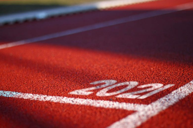 A running track with the number 2021 in one lane.