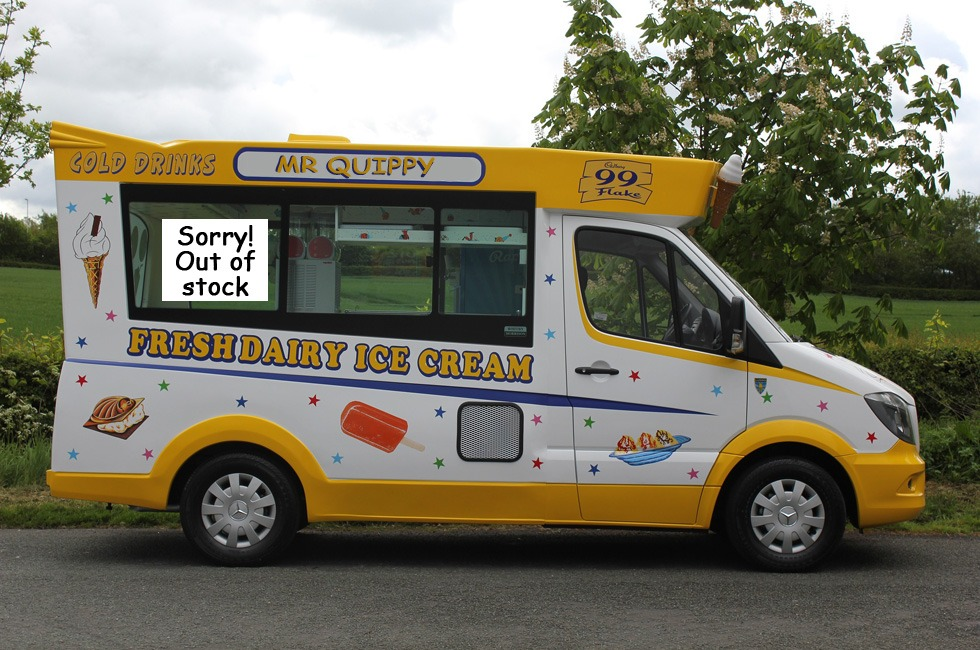 An ice cream van with a 'flake news' sign claiming it is out of stock.
