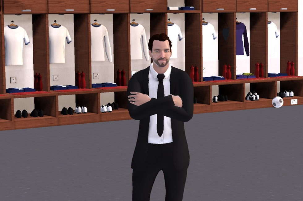A personalised avatar on the start screen of Football Manager 2019.