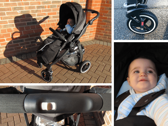 A selection of images showing the key features of the Graco Evo XT stroller.