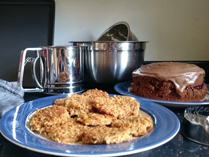 A selection of bakes and bakeware as part of a Bake Off challenge.