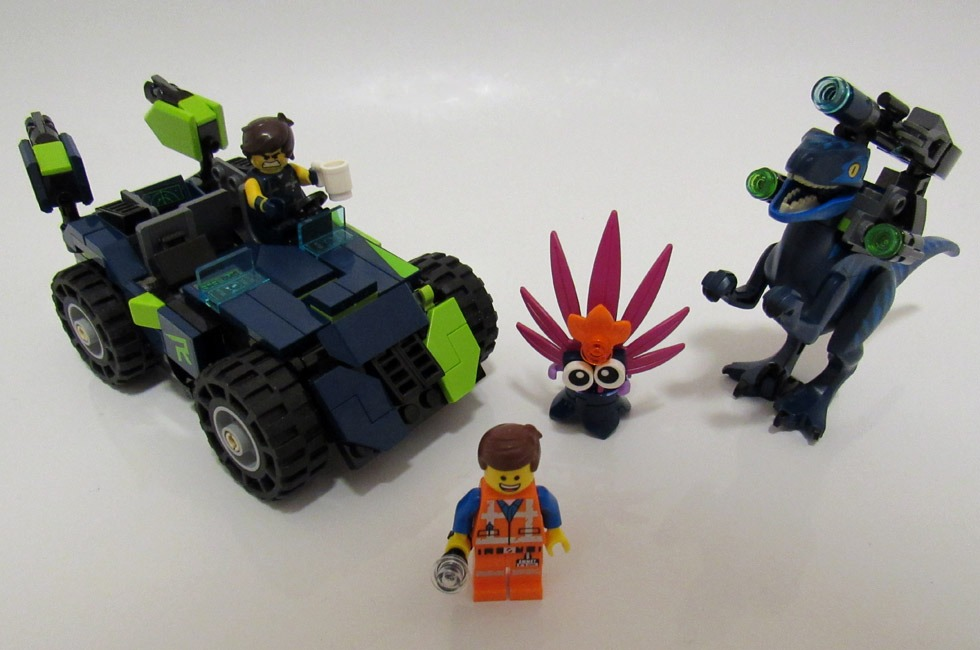 The contents of the LEGO Movie 2 Rex's Rex-treme Offroader! set.