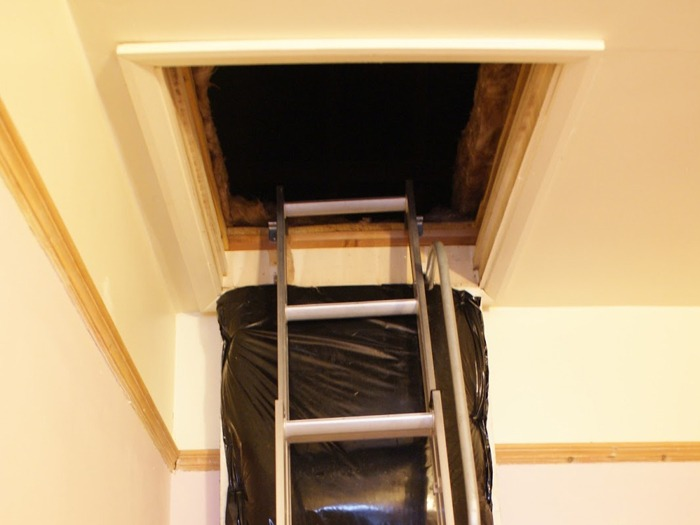 A ladder leading up to a loft.