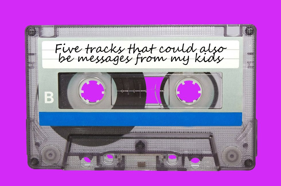 "A retro cassette tape with a label reading ""Five tracks that could also be messages from my kids""."