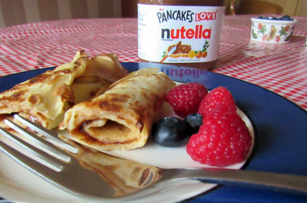 Les Crêpes de la Chandeleur with Nutella and fresh fruit.