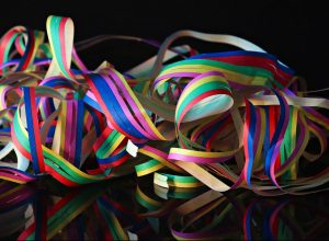 A tangled mess of party streamers.