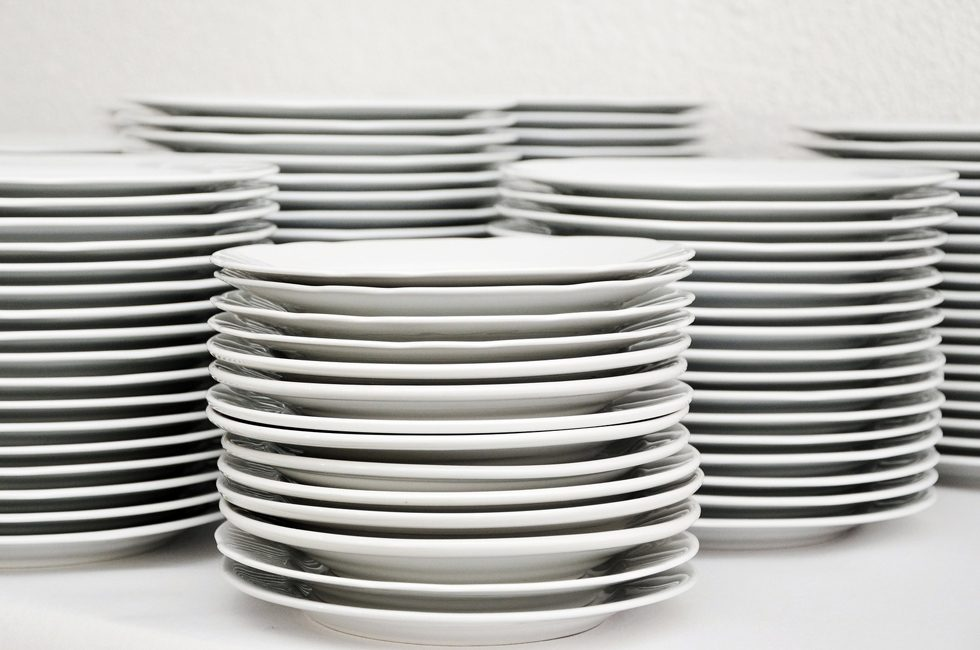 Several piles of plates.
