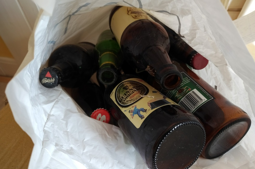 Some 20-year-old empty beer bottles.