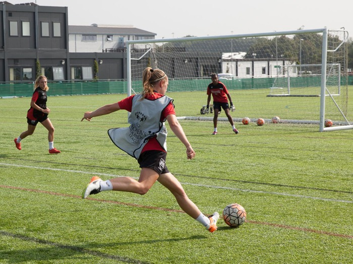 England U17 star Flo Allen shapes up to shoot during a training match.
