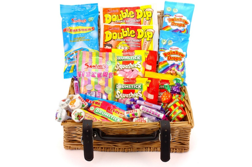 A hamper of Swizzels sweets.