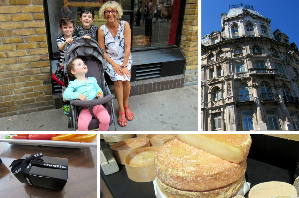 A selection of photos depicting a hotel stay and food-themed tour of central London.