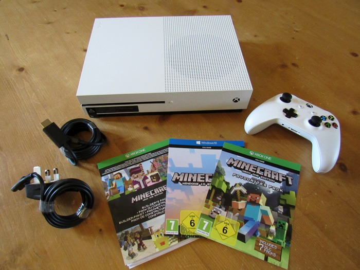 The contents of the Xbox One S Minecraft Edition.