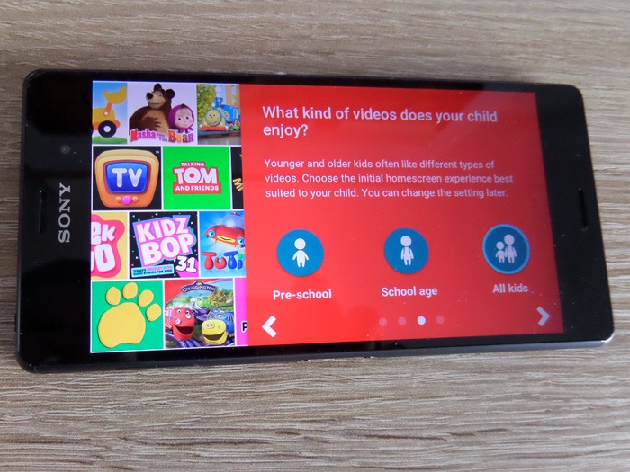 The YouTube Kids app showing the different age range options.